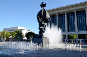"The ""Peace on Earth"" Fountain in front of the Dorothy Chandler Pavilion"